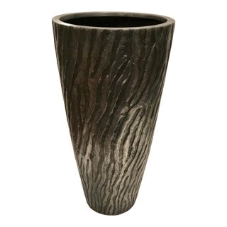 Large Modern Gunmetal Finish Textured Planter For Sale