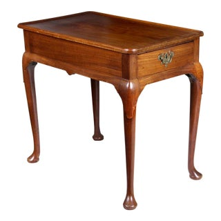 Queen Anne Mahogany Dished Tray-Top Tea Table With Drawers