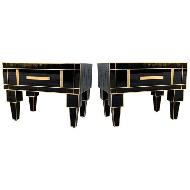 New Pair of Mirrored Low Nightstand in Black Mirror and Chrome With Drawer For Sale - Image 11 of 11