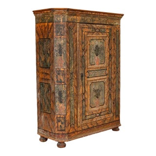 Antique Original Painted Armoire From Austria With Canted Sides, Dated 1775 For Sale