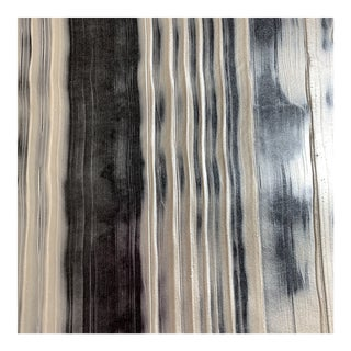 Holland & Sherry Kalevela Custom Handmade Black and Silvery White Faux Bois Wallpaper - 3 Yards For Sale