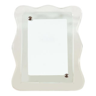 Vintage Scalloped Edge Glass Picture Frame For Sale
