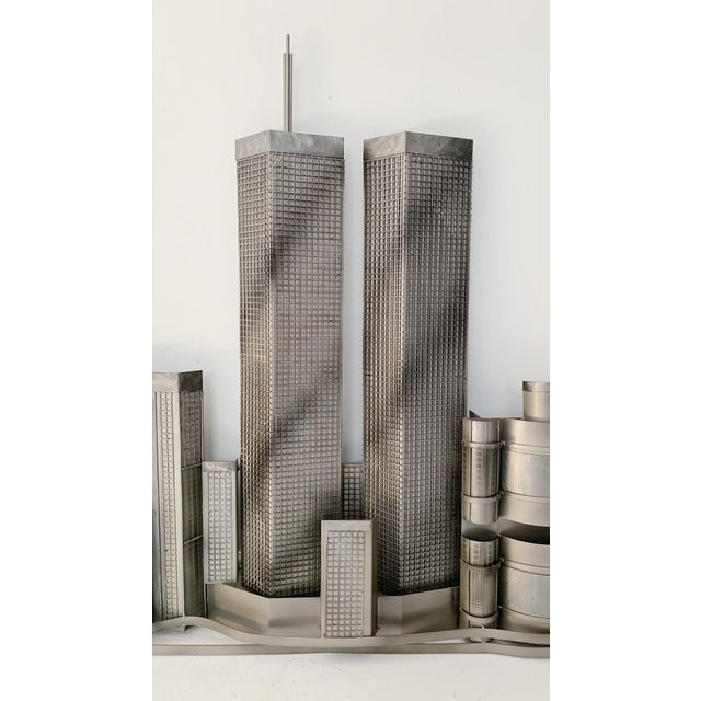 Curtis Jere World Trade Center Twin Towers Metal Wall Sculpture, made in 2000 in excellent condition.