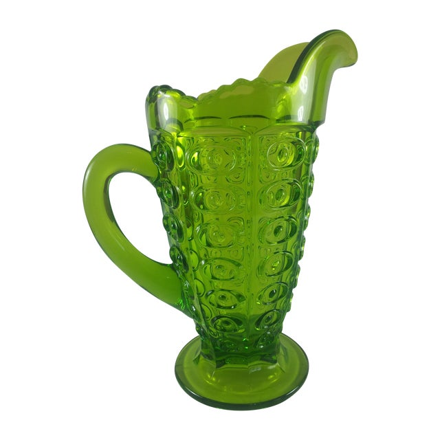Viking Green Art Glass Bullseye Pitcher For Sale