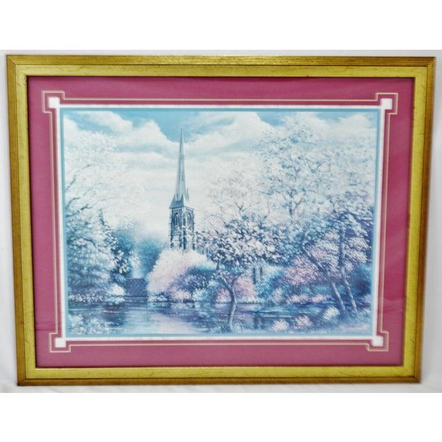 Vintage Framed Sambataro Church Steeple Print For Sale - Image 11 of 12