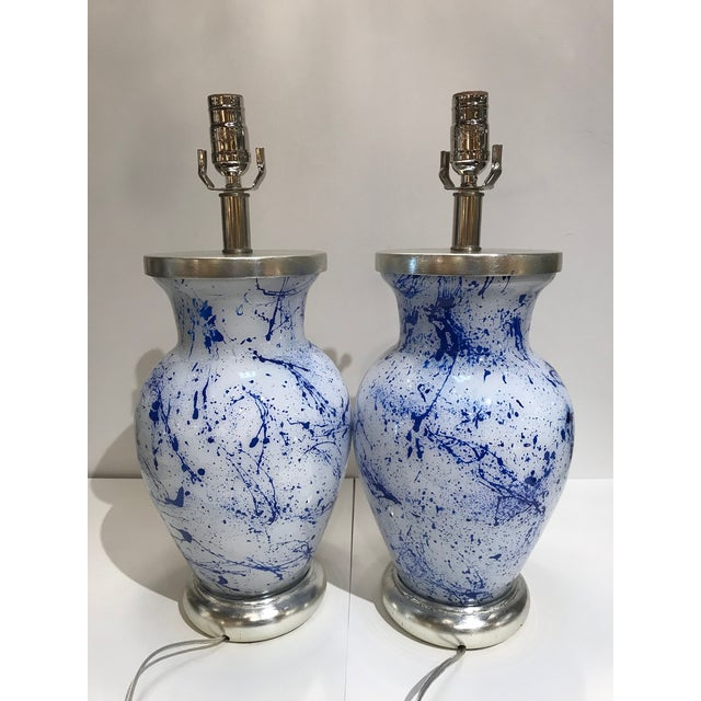Contemporary Liz Marsh Designs Blue Spatter Eglomise Lamps - a Pair For Sale - Image 3 of 4