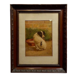 "Late 19th Century Antique Edmund Caldwell ""Jack Russel Puppy With A Stag Beetle"" Painting For Sale"
