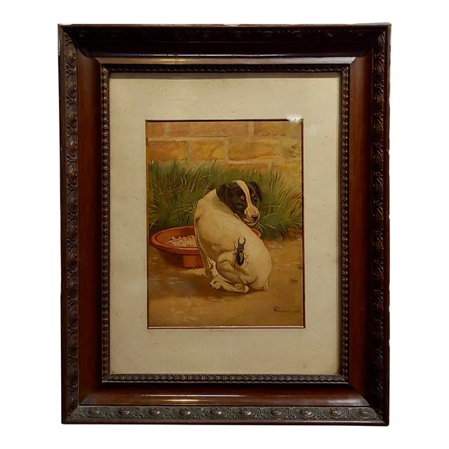 """Late 19th Century Antique Edmund Caldwell """"Jack Russel Puppy With A Stag Beetle"""" Painting For Sale"""