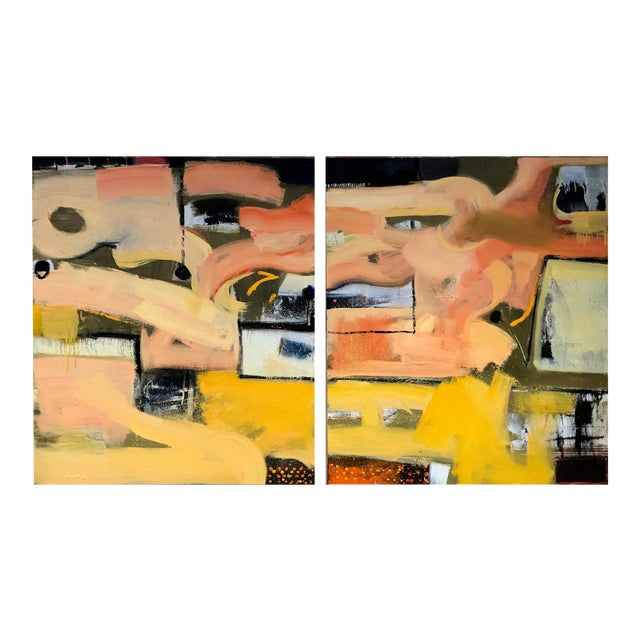 Original Abstract Diptych Painting - 2 Pieces For Sale