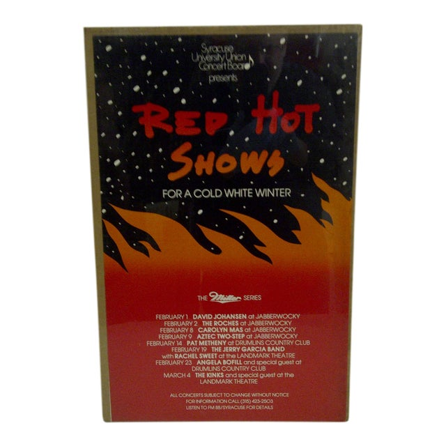 """Vintage """"Red Hot Shows"""" College Concert Series Poster For Sale"""