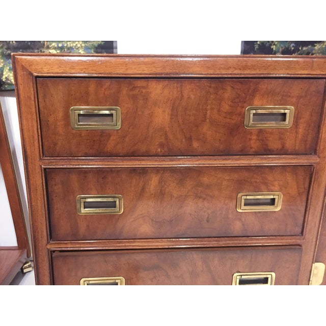 Drexel Mid Century Signed Drexel Heritage Campaign Chest of Drawers For Sale - Image 4 of 10