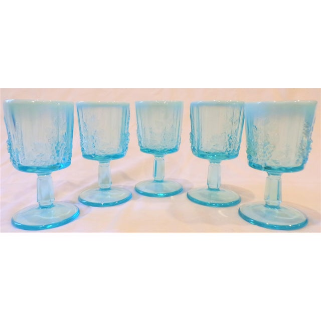 Shabby Chic Vintage Opaline Tiffany Blue Wine Glasses - Set of 5 For Sale - Image 3 of 9