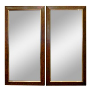 Burl & Brass Mirrors, a Pair For Sale