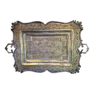 19th Century Persian Styled Hand Hammered and Tooled Silver Over Copper Tray For Sale