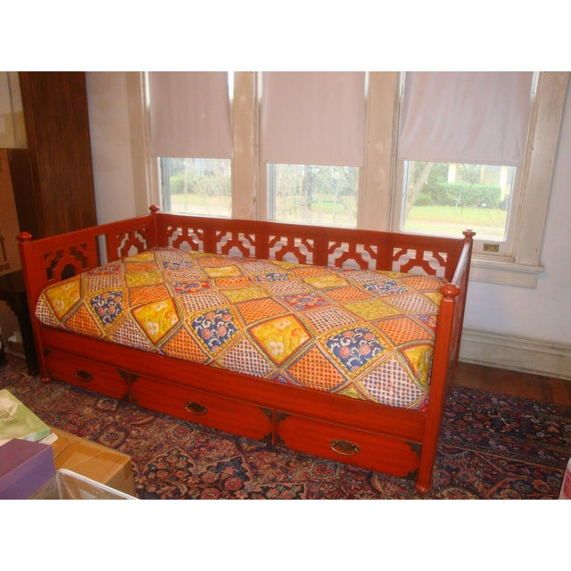 1970s Chinoiserie Fretwork Daybed Sofa Fits Twin Bed For Sale - Image 4 of 7