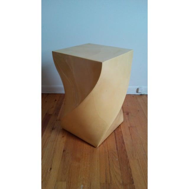 Yellow Modern Goatskin Twist Pedestal Table For Sale - Image 8 of 8