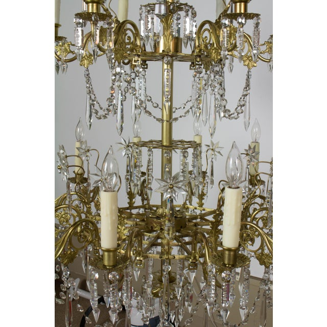 Victorian Brass and Crystal Eighteen Light Chandelier For Sale - Image 10 of 11