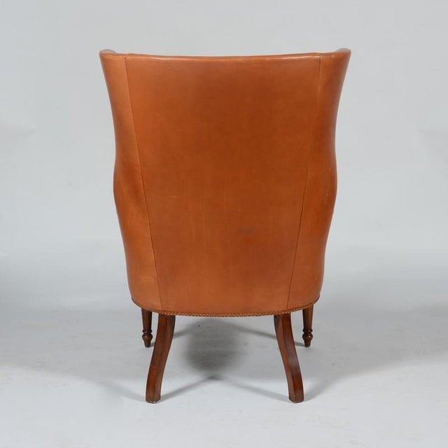 Mid-Century Modern Pair of Classic High Back Saddle Leather Wing Back Fireplace or Parlour Chairs For Sale - Image 3 of 7