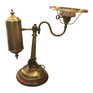Vintage Brass Student Converted Oil Lamp 19th Century For Sale