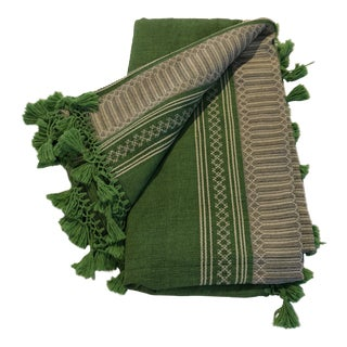 Green Moroccan Fringed Bedcover For Sale