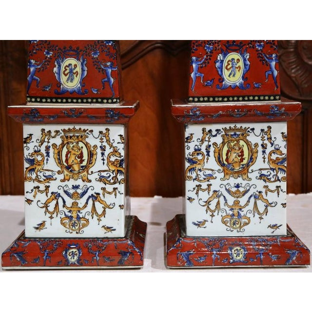 19th C. French Faience Obelisks - A Pair - Image 4 of 8