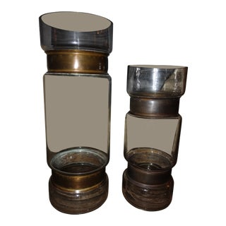 Arteriors Garrison Large & Small Glass & Brass Metal Vases - a Pair For Sale