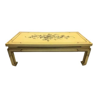 Beautiful Vintage Chinoiserie Ming Style Chinese Coffee Table Yellow Lacquer Flower For Sale