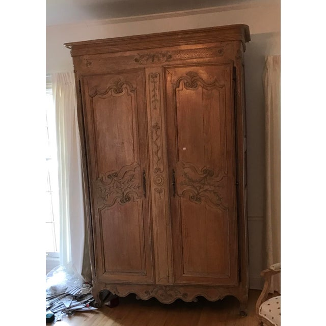 French 18'th Century French Carved Wood Armoir For Sale - Image 3 of 10
