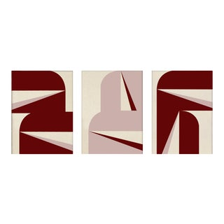 """""""Abstract Graphic - Burgundy Blush Triptych"""" Contemporary Geometric Acrylic Triptych Paintings, 3 Pieces For Sale"""