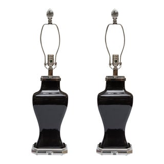 Pair of Contemporary Black Glazed and Lucite Lamps For Sale