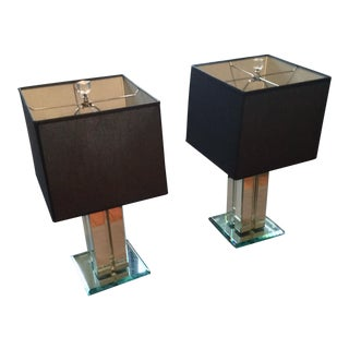 Italian Mid Century Modern Mirrored Table Lamps - a Pair For Sale