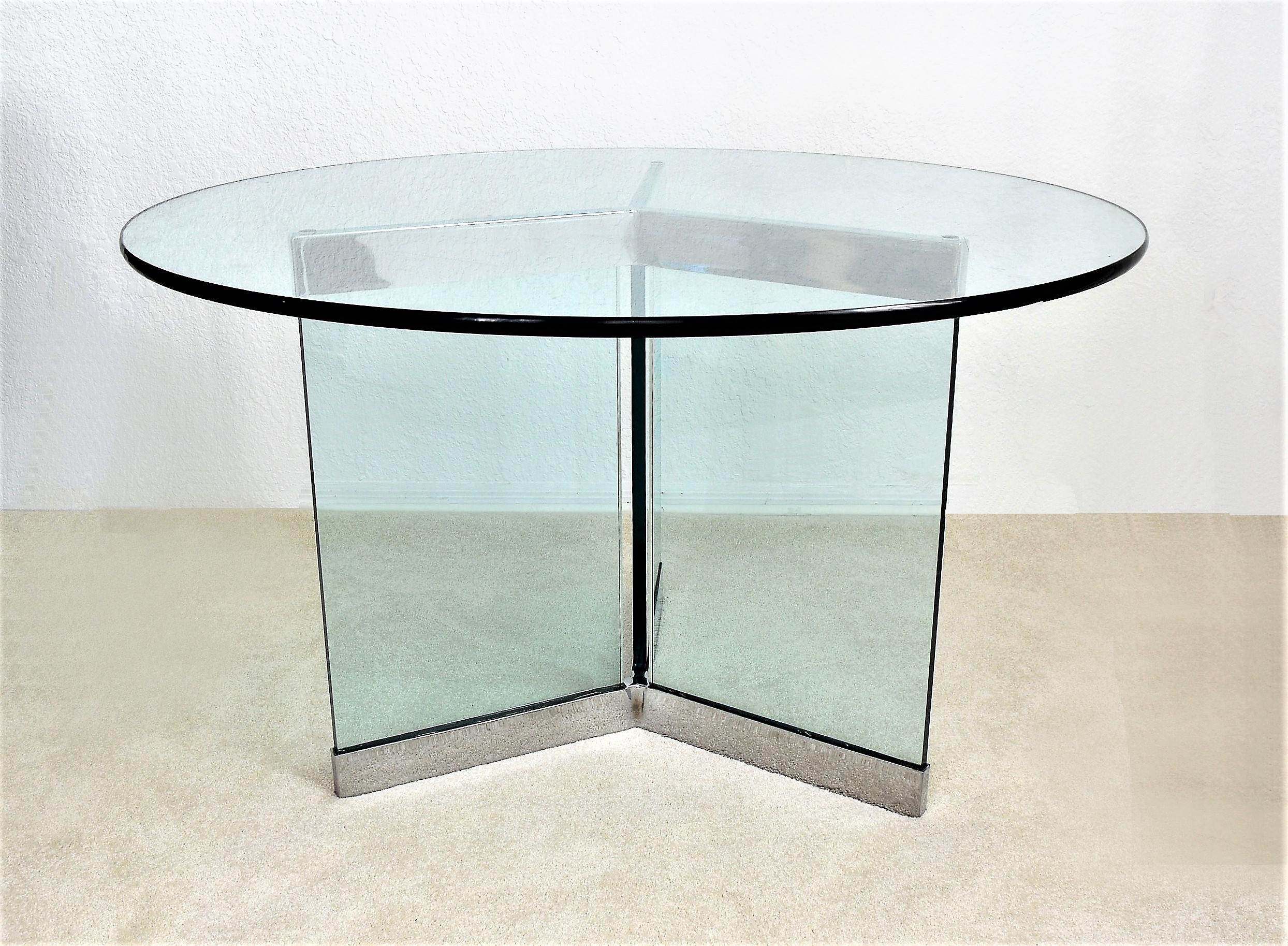 Offering A Triangular Chrome And Thick Glass Center Table Or Dining Table  Manufactured By Pace Collections