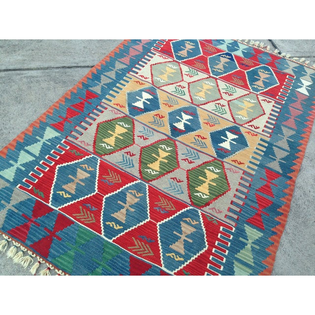 "Turkish Handwoven Wool Kilim Rug - 4'2"" X 5'11"" For Sale - Image 7 of 10"