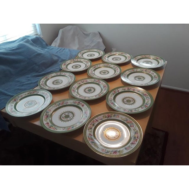 Antique C. Ahrenfeldt Limoges Dinner Plates With Hand Painted and Gilt Accents - Set of 12 For Sale - Image 9 of 13