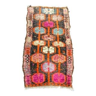 1960s Vintage Colorful Decorative Turkish Handmade Rug- 1′4″ × 2′6″ For Sale