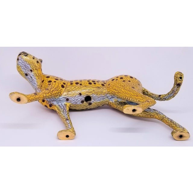 Cheetah - Vintage Cloisonne Enamel and Brass Sculpture - Mid Century Modern Palm Beach Boho Chic Animal Tropical Coastal For Sale - Image 11 of 12