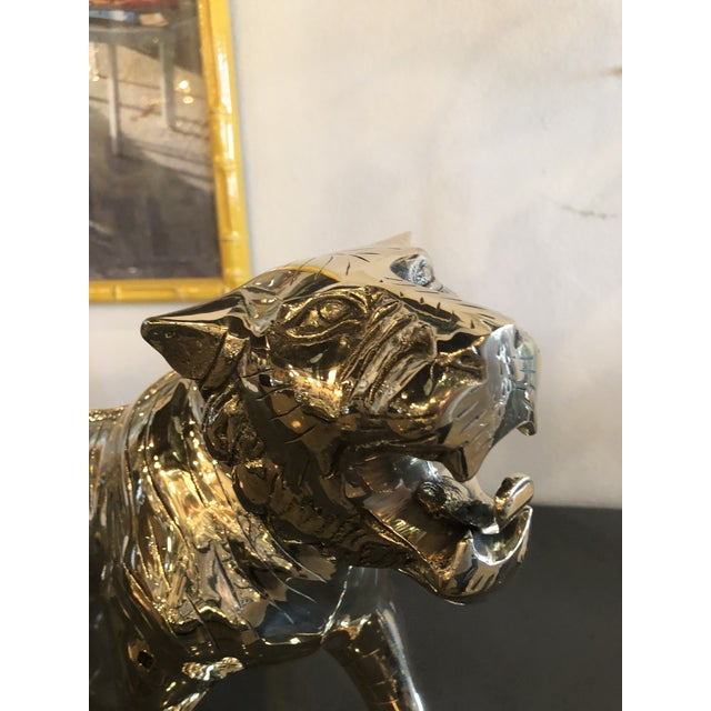 Gold Vintage Hollywood Regency Polished Brass Tiger Statue Pair Available For Sale - Image 8 of 11