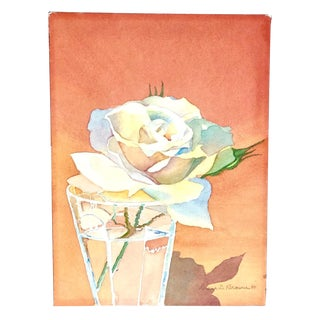 Watercolor Still Life of Rose For Sale