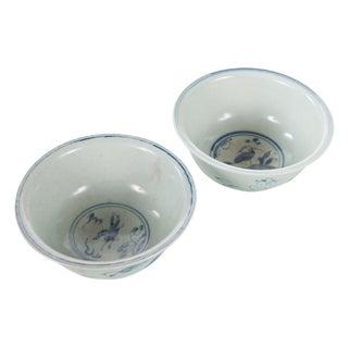 White & Blue Chinese Antique Porcelain Bowls - A Pair For Sale