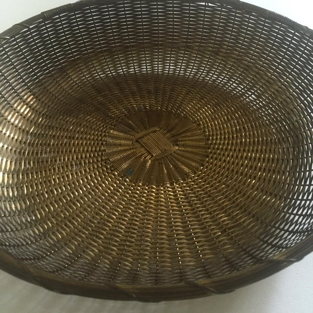Vintage 1940's Brass Hand Woven Large Round Rustic Metal Basket - Image 10 of 11