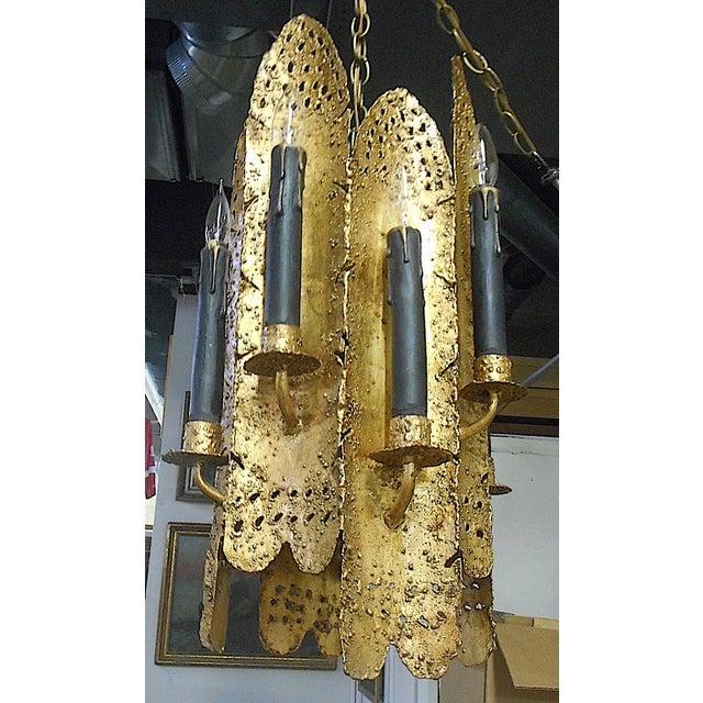Gold Vintage Tom Greene Torch Cut Brutalist Chandelier & Chain For Sale - Image 8 of 13