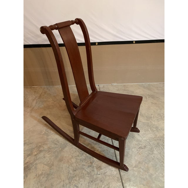 Antique Carved Scrolled Splat Back Solid Wood Brown Painted Children's Rocking Chair For Sale - Image 13 of 13