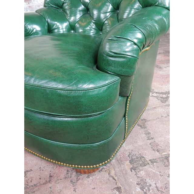 Green Hancock & Moore Tufted Green Leather Club Chair with Ottoman For Sale - Image 8 of 11