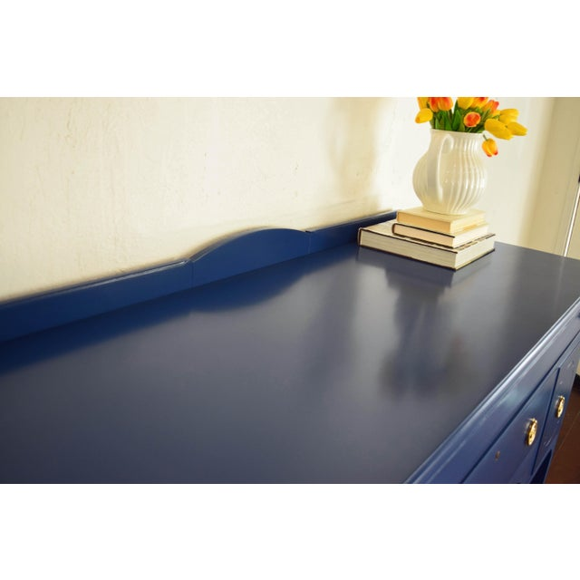 Antique Cherrywood Navy Blue Buffet For Sale In San Francisco - Image 6 of 12