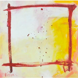 """""""Red & Yellow Window"""" Contemporary Abstract Acrylic Painting by Robbie Kemper For Sale"""