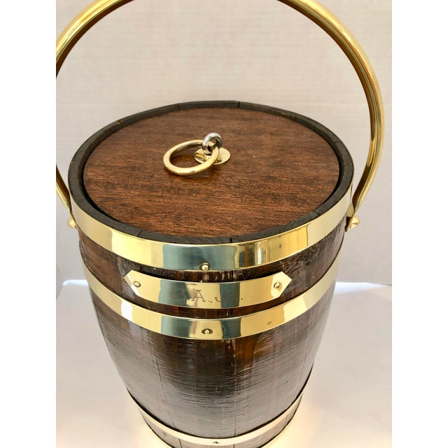 1930s Antique Brass Banded & Wood Lidded Ice Cooler With Initials For Sale - Image 5 of 12