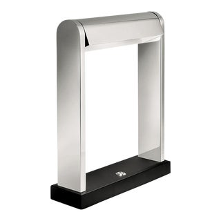Desk Canopy Light in Satin Black and Polished Chrome For Sale