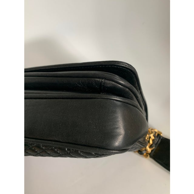 Gold Vintage Bally Handbag Quilted Black Lamb Skin Leather For Sale - Image 8 of 13