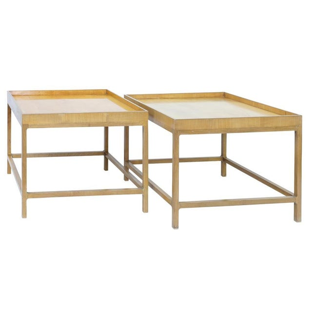Mid Century Baker Furniture Company Wood Side Tables Pair