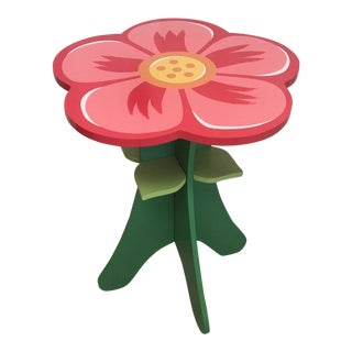 Whimsical Flower Petal Accent Side Table For Sale